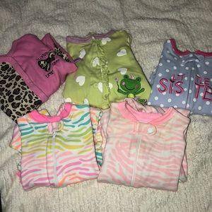 0-3 month footed onesie bundle